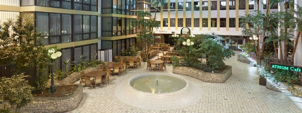 Overhead view of Atrium Cafe featuring water fountain