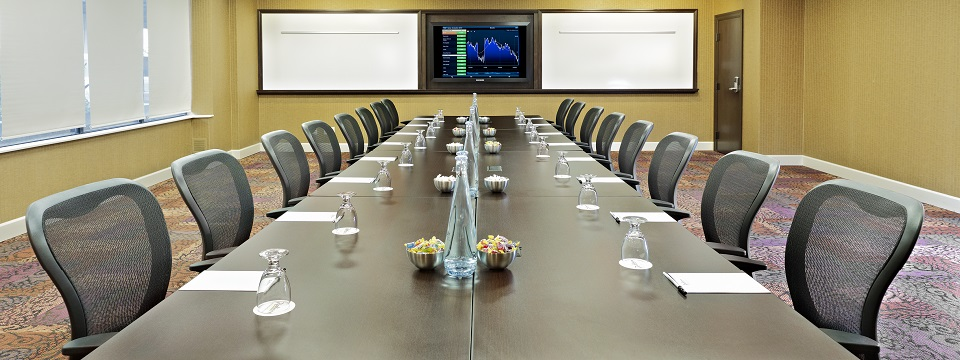 Meeting room with boardroom setup