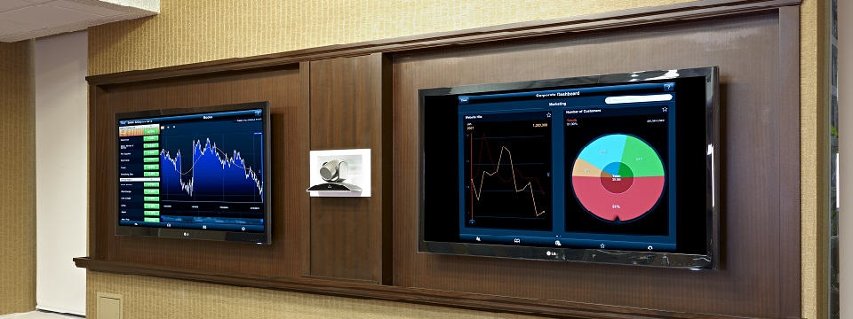 Wall-mounted computer monitors in Edmonton hotel meeting room
