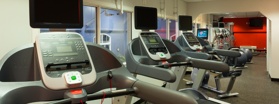 Fitness centre with ellipticals and treadmills