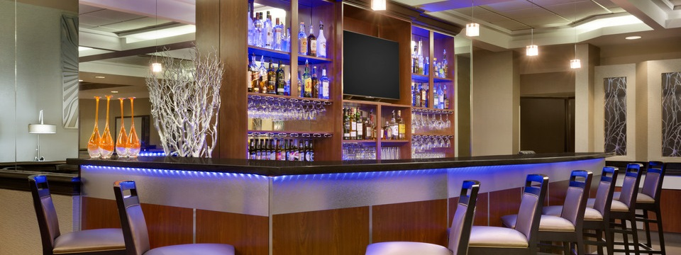 Chic bar with flat-screen TV and ambient lighting