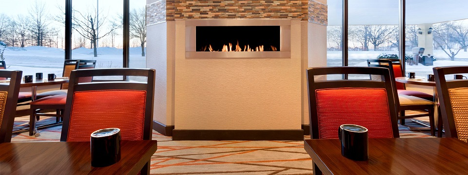 Crackling fireplace at 200 West