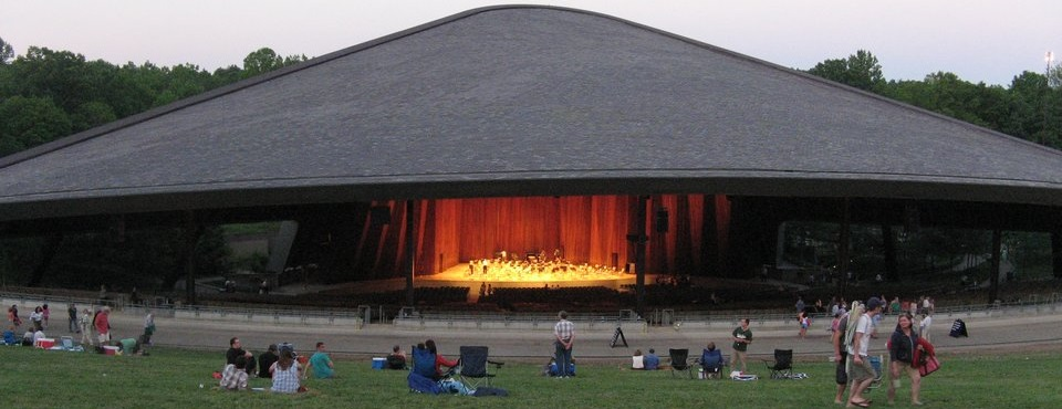 People on the lawn at the Blossom Music Center for a show