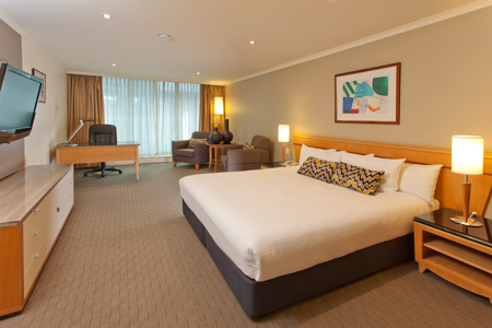 Sydney hotel's Studio Room with king bed and work desk