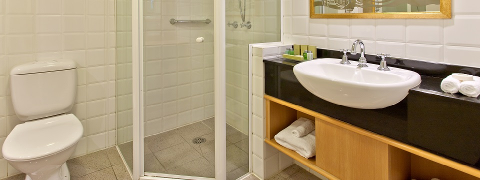 Bathroom vanity and glass-enclosed shower