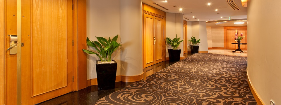 Hallway outside of meeting venue with plants by each door