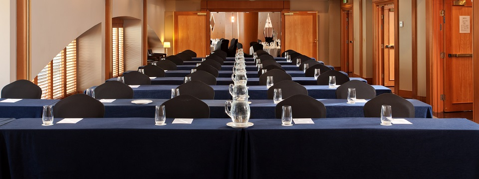 Nine rows of meeting room tables in Sydney event venue