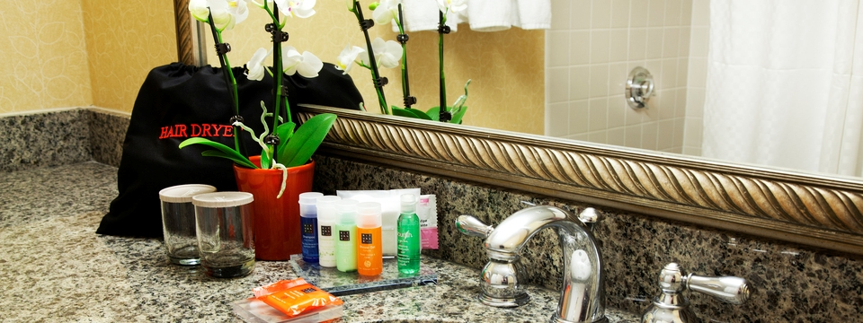 Hotel bathroom with hair dryer, soap, shampoo and conditioner