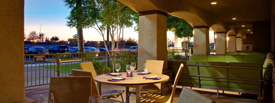 Hotel restaurant with outdoor patio seating