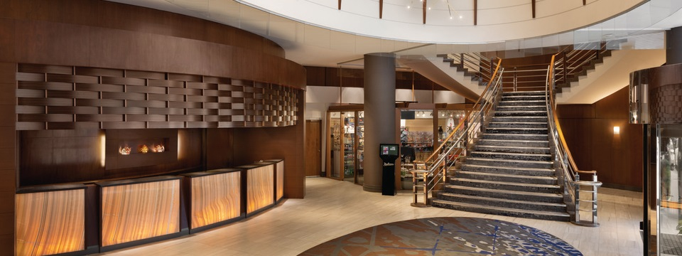 Spacious lobby with view of the elegant staircase