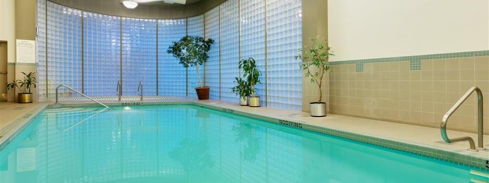 View of indoor pool with poolside plants