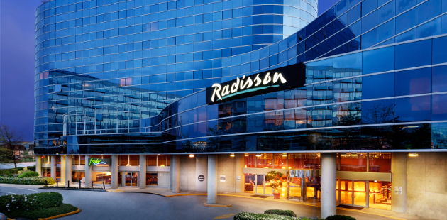 Radisson Hotel Vancouver Airport exterior lit up at night
