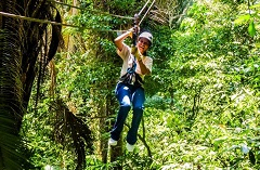 Woman riding a zip line surrounded by lush vegetation