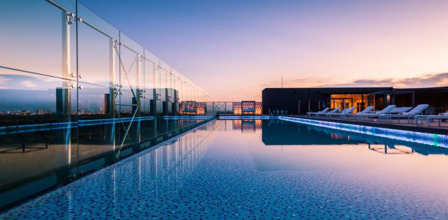 Hotel's sparkling outdoor swimming pool
