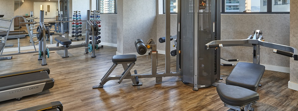 Weights and weight machines in fitness center
