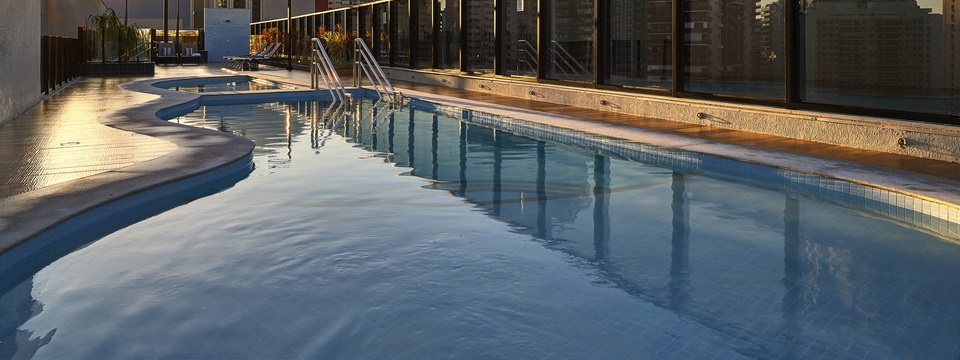Rooftop pool in the evening