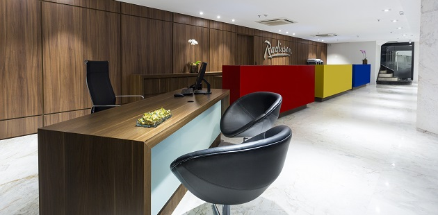 Colorful reception desk at hotel in Porto Alegre