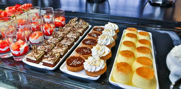 Flan, pastries and other desserts at hotel restaurant