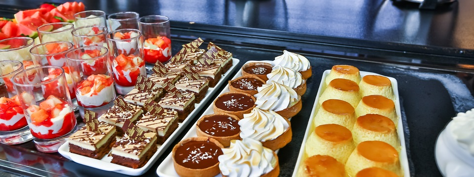 Flan, fruit, pastries and other desserts