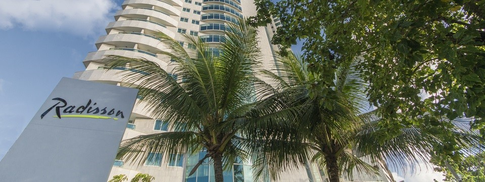 Hotel exterior surrounded by palm trees