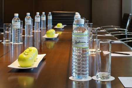 Bruneian meeting space with complimentary water
