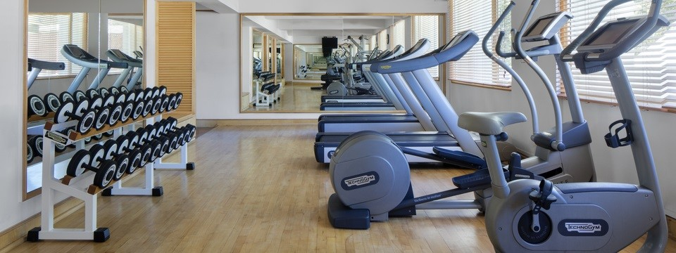Treadmills, free weights and a stair-stepper in hotel's fitness centre