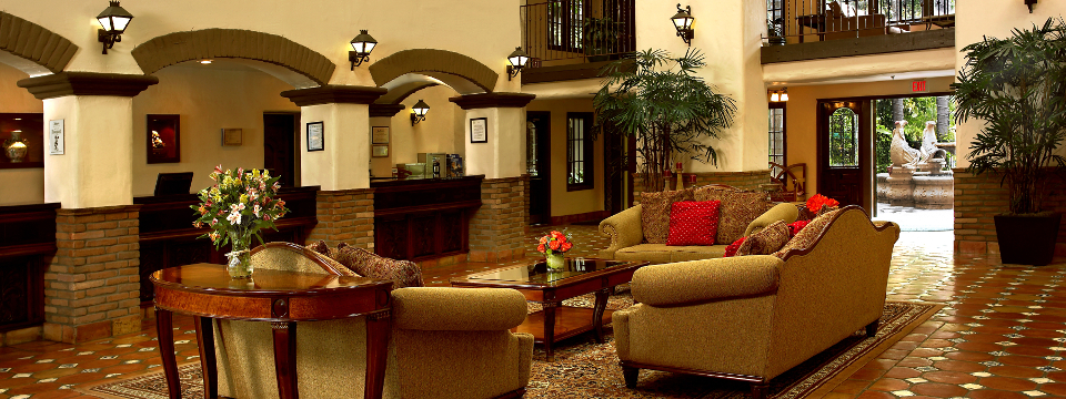 Spacious lobby with comfortable couches and a coffee table