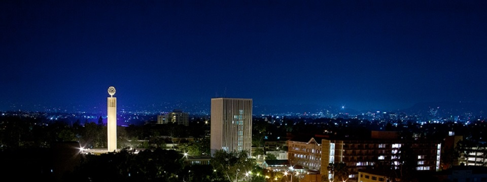 University of Southern California hotel exterior at night
