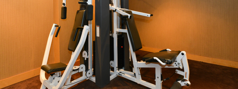 Strength-training equipment in Edmonton fitness centre