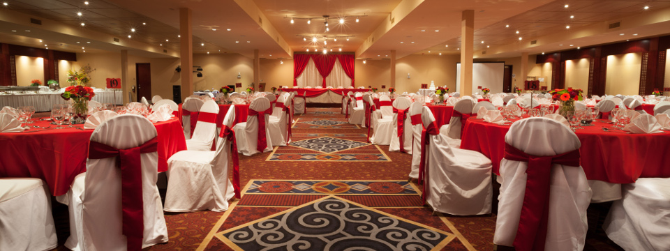 Red and white decor in Edmonton event venue