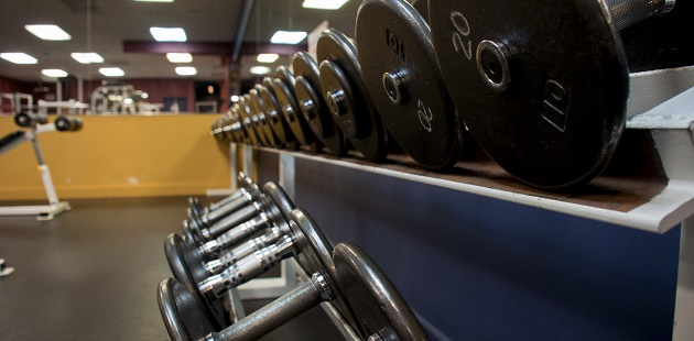 Free weights inside 6,000-square-foot fitness centre