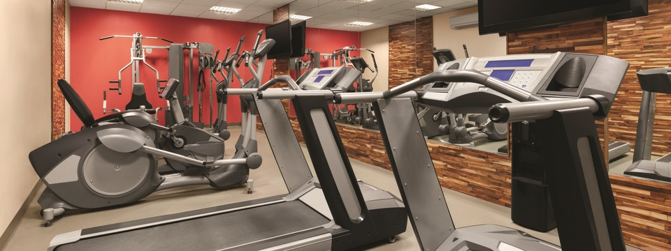 Hotel fitness centre with treadmills, ellipticals and weight machines