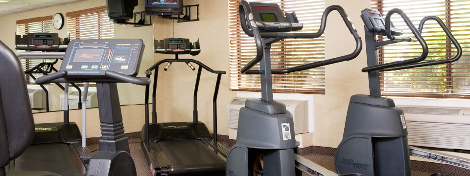 Cardio machines and a TV in the fitness room