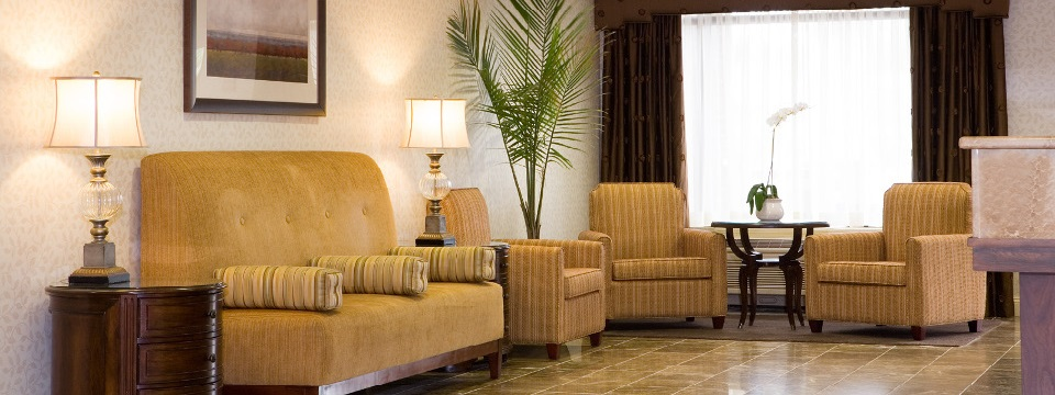 Hotel lobby with seating and elegant furnishings
