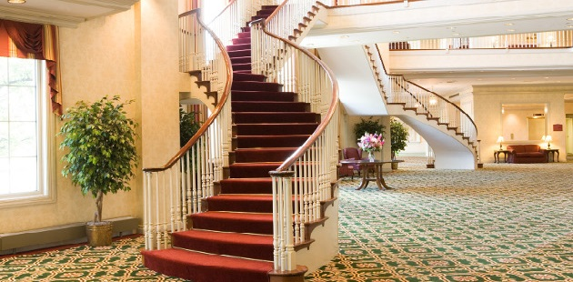 Elegant staircase in the hotel lobby