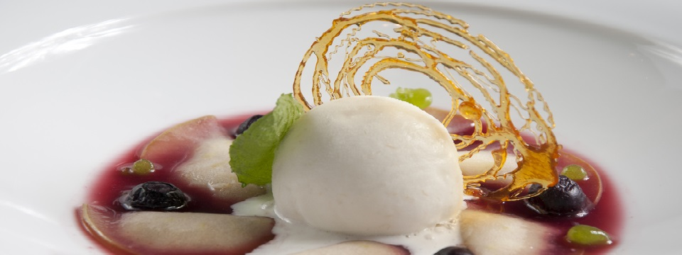 Frozen dessert with fruits and green garnish on white plate
