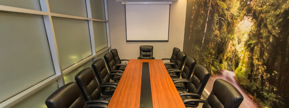 Concepción boardroom with nature mural and projector screen