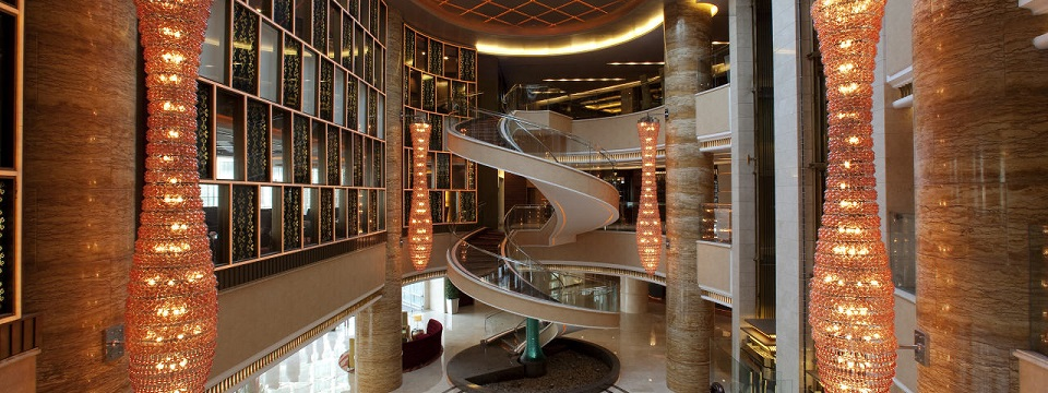 Large lobby with spiral staircase