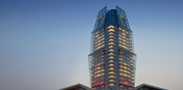 Radisson Tianjin exterior in the evening