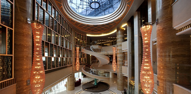 Lobby with spiral staircase at hotel in Tianjin