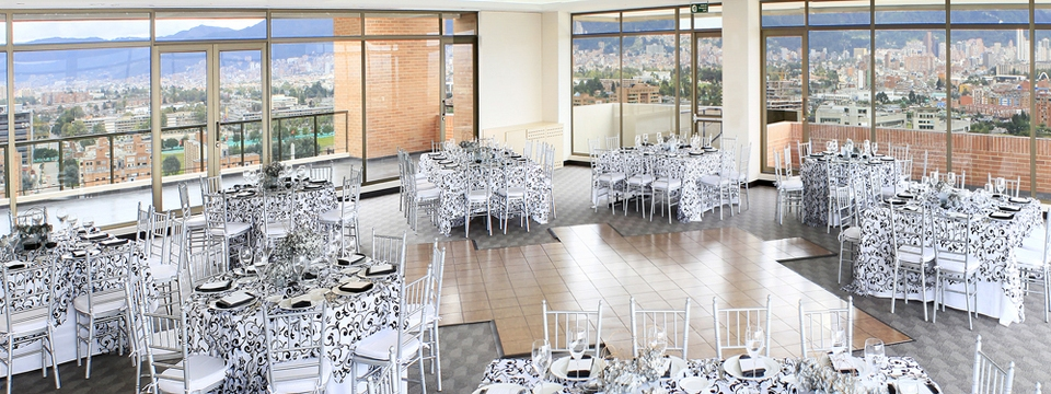 Event space with patterned tables and chairs