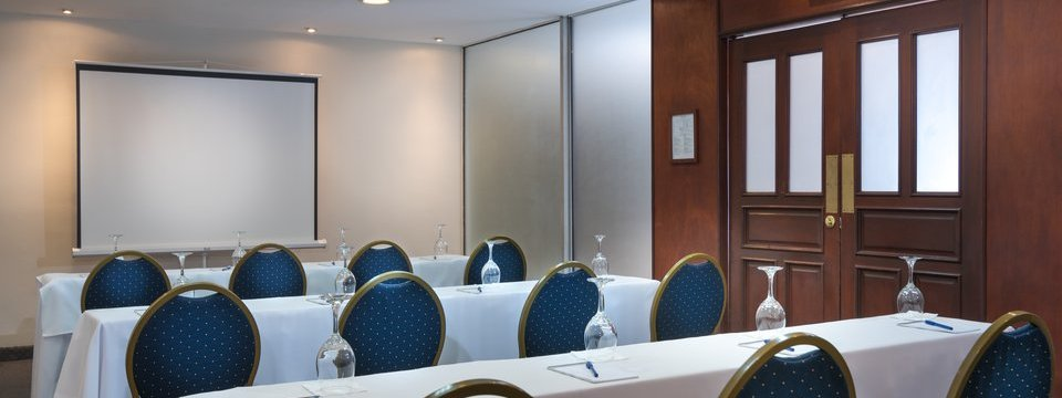 Conference room tables and projection screen