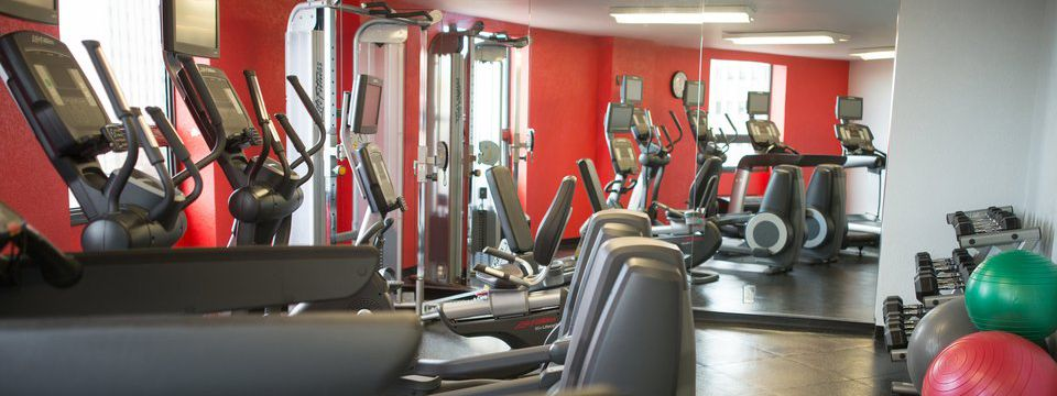Fitness center with ellipticals, treadmills, free weights and stability balls