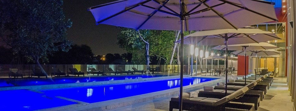 View of outdoor pool at night