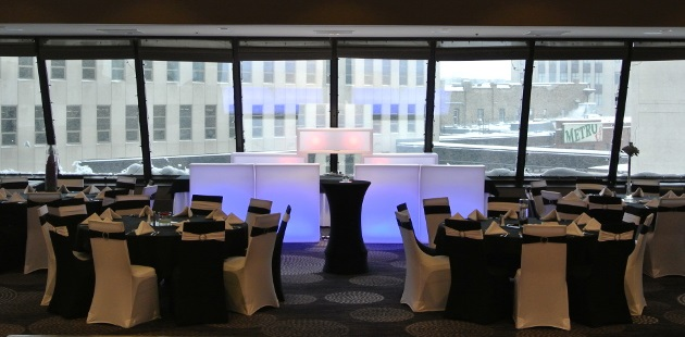 Banquet venue with views of downtown Fargo