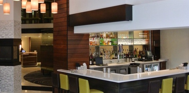 Contemporary bar area in Fargo hotel lobby