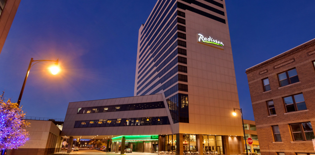 Radisson Hotel Fargo exterior at twilight