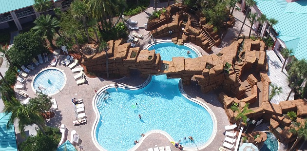 Aerial view of free-form pool, hot tub and tropical landscaping