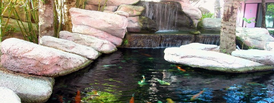 Waterfall with fish pond outside Radisson Resort at the Port