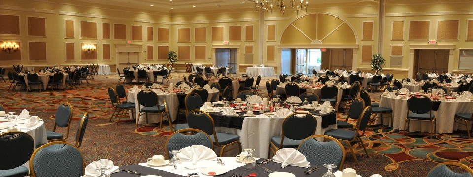 Hotel's event space set up for a wedding reception